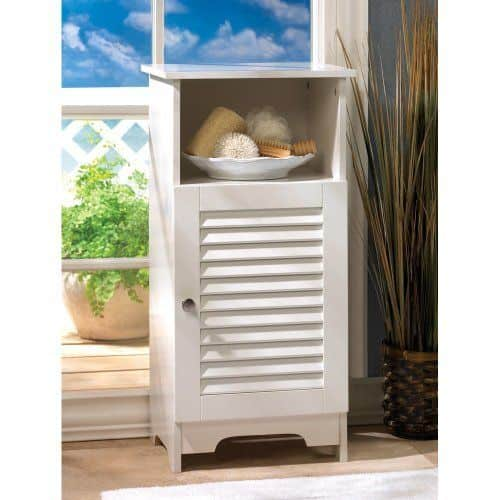 White-colored verdugo bift co. nantucket storage cabinet nightstand perfect for small corner of the room.