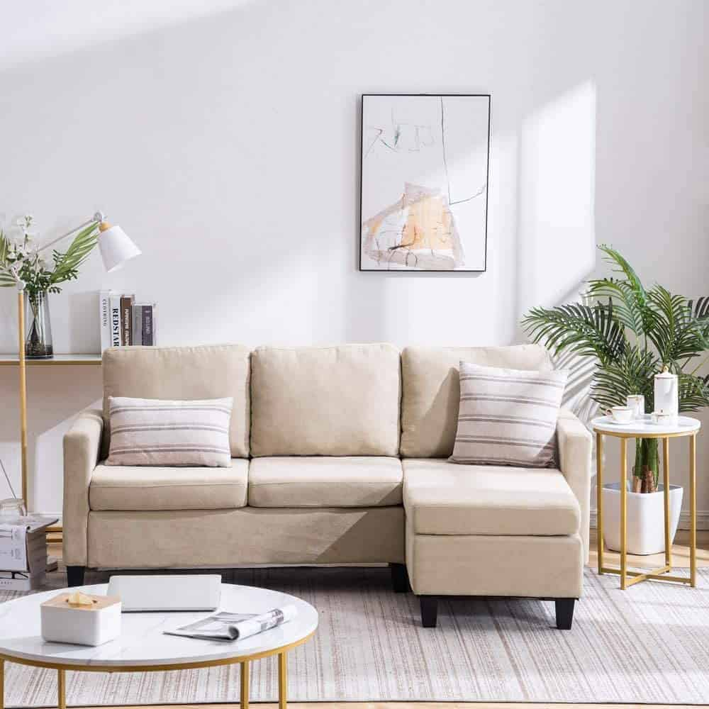 The VINGLI Convertible Sectional Sofa Small Three-Seater Sectional Couch from Amazon.