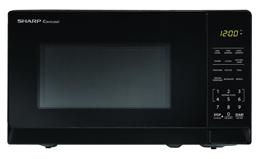 Apartment-sized black microwave with instant 30 second start cook