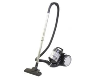 Bagless vacuum cleaner with telescoping metal chromed tubes.