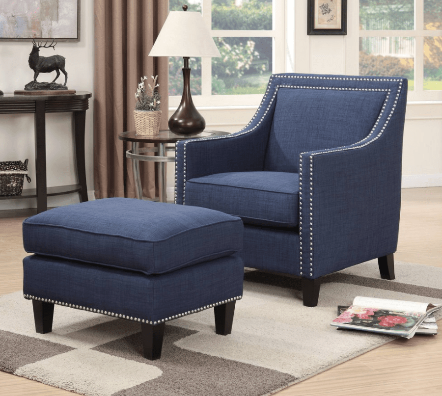Blue Accent Chair With Matching Ottoman