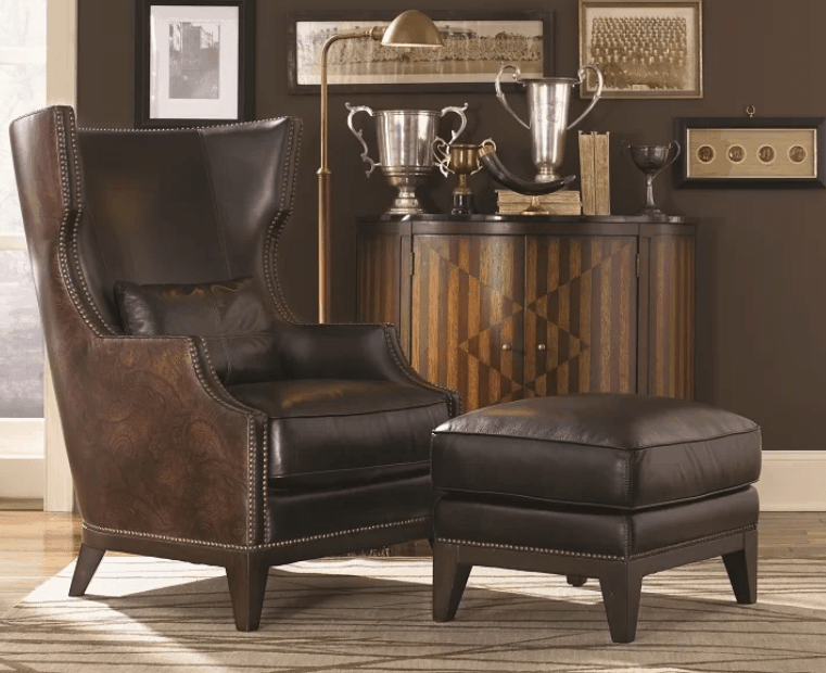 Gorgeous large brown leather wingback accent chair with ottoman