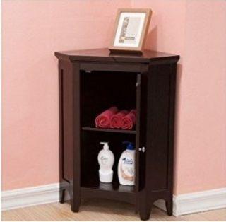 Small corner cabinets with a brown espresso finish.