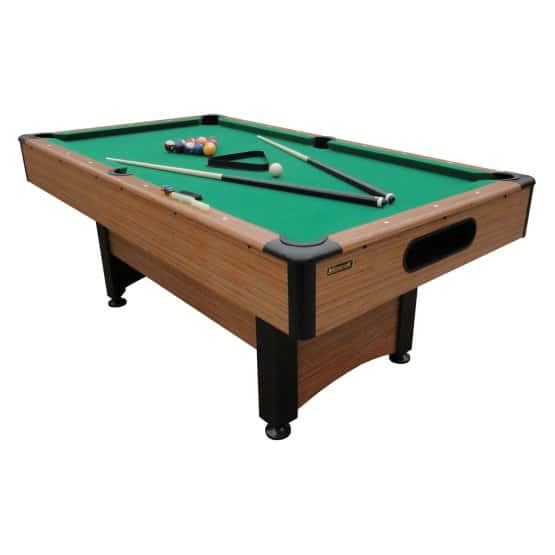 Standard pool table with a laminated bamboo frame.