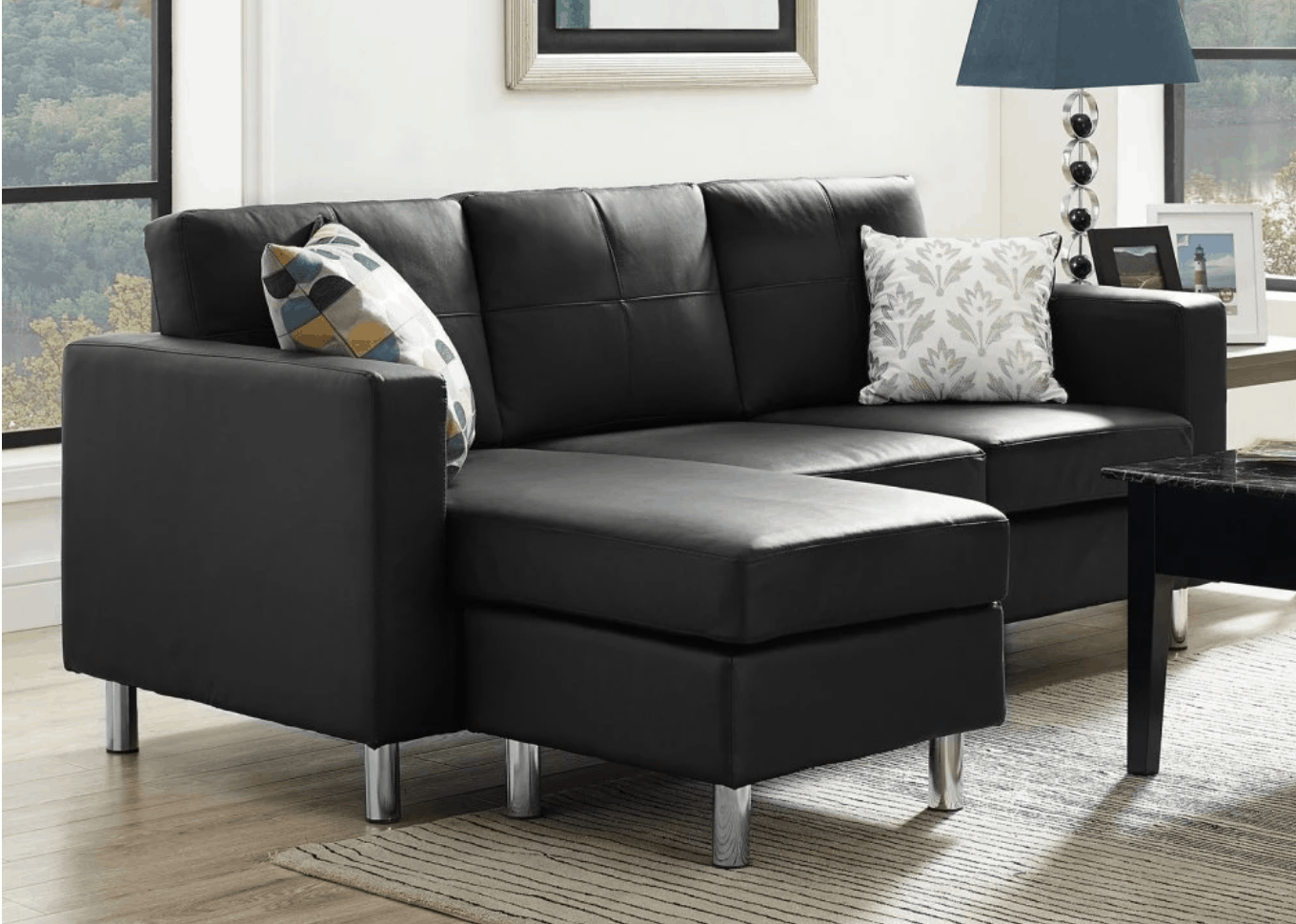 Nice Space Saving Black Sectional Sofa For Small Spaces