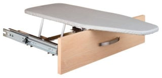 Ironing board in a drawer for a compact and convenient usage.