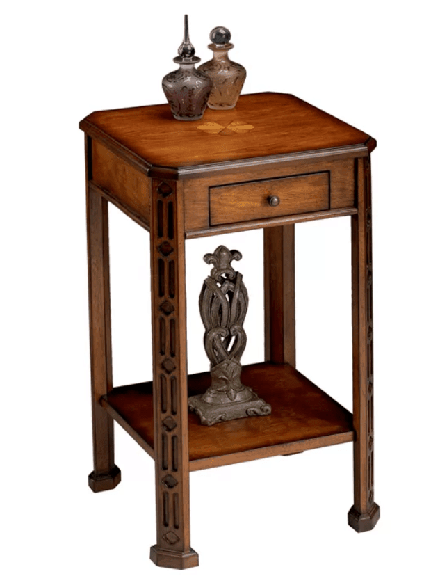 Small square accent table with drawer.