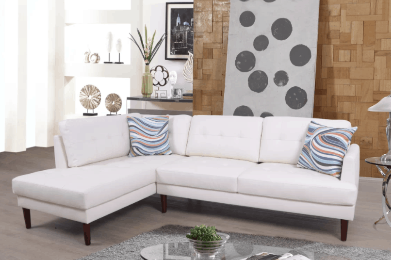 Compact white sectional sofa
