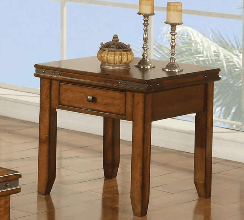 Small square accent table with a drawer