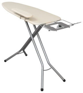 Silver ironing board in a contemporary style.