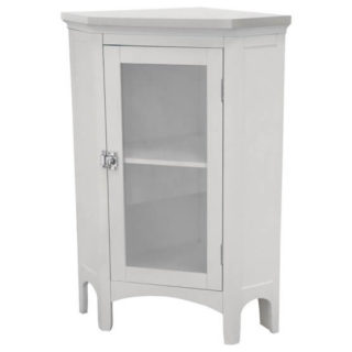 Easy-to-clean corner floor cabinet in a sleek white finish.