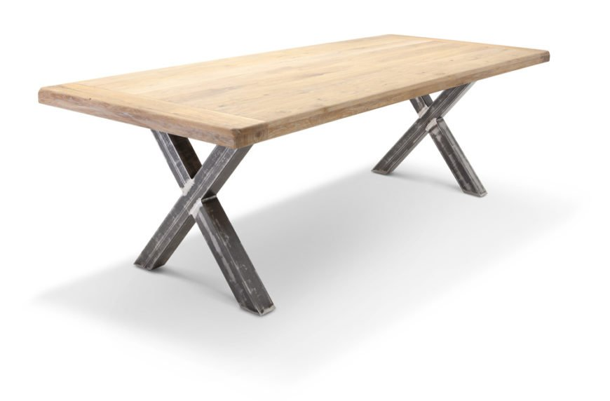 Cross leg dining room table base