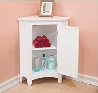 White floor storage cabinet for bathrooms.