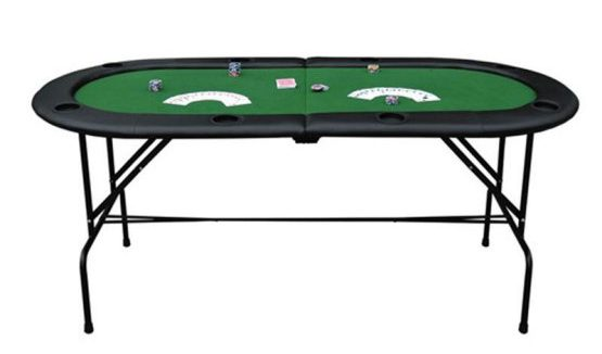 Oval card game table that can be folded at the center.