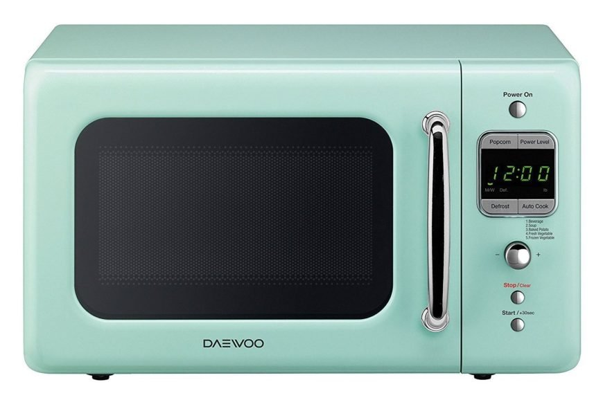 Small green retro microwave by Daewoo