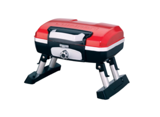 Tabletop portable gas grill painted with bright red color and made from a durable aluminum.