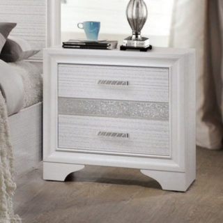 Coaster furniture miranda 2-drawer nightstand with white finish and 2 storage drawers and hidden jewelry tray.
