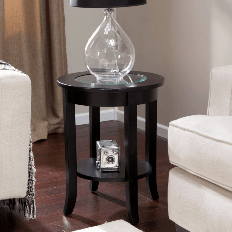 Finley home eaton end table with a solid wood frame and a clear glass top along with a handsome espresso-black finish.