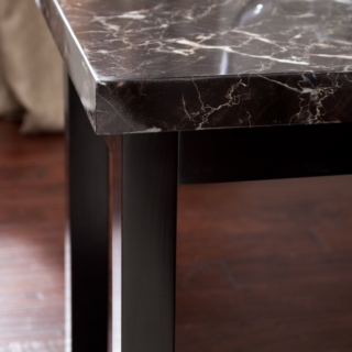 Finley home galassia faux marble end table square-shaped with dark finish.