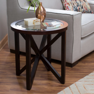 Finley home webster round end table with 5mm tempered beveled glass top and espresso finish.