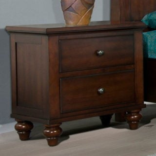 Cherry-colored picket house furnishings channing 2-drawer nightstand with solid pine and engineered wood construction.
