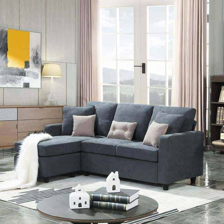 The HONBAY Reversible Sectional Sofa Couch in gray.