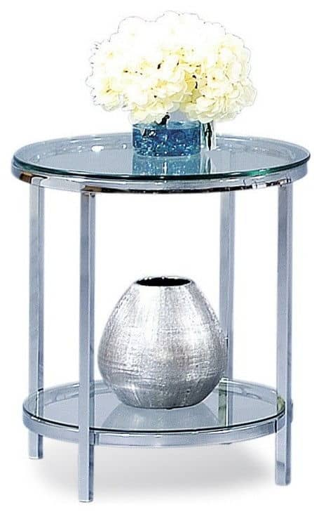 Bassett mirror co. patinoire round end table with a beautiful polished chrome color.