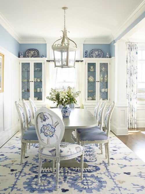 Beach Dining Room With Blue And White Walls Along Regular Ceiling