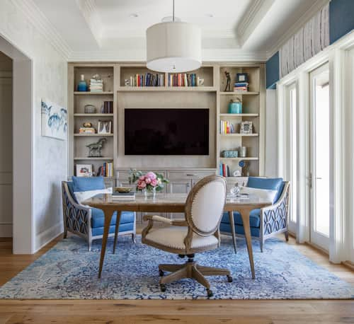 Beach Style Home Office With Built In Shelves, Sofa Chair, And Hardwood  Floor.Photo By The Design Studio   Look For Home Office Pictures