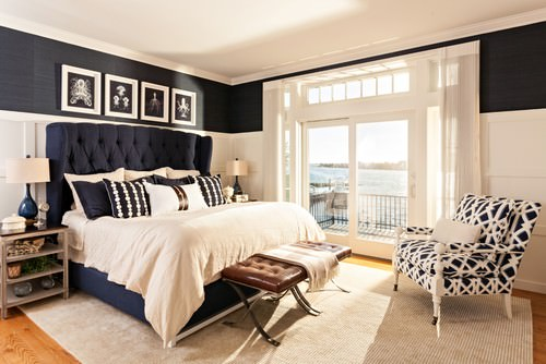 beach style bedroom source bedroom suite. Blue Walls With Wood Panels Is The Perfect Backdrop For Simplicity Of White Bed. Beach Style Master Suite Featuring Wall-mounted Lamps And Light Bedroom Source E