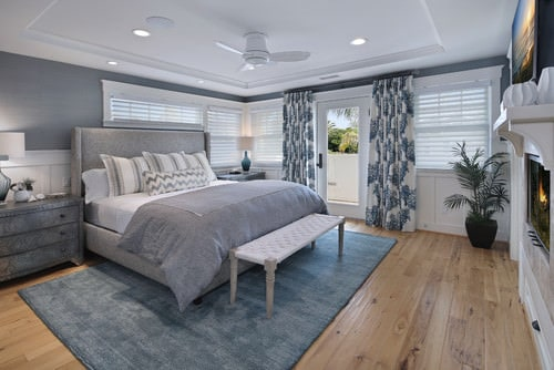 Mid Sized Bedroom In White And Gray With A Soft Sophisticated Coastal Look