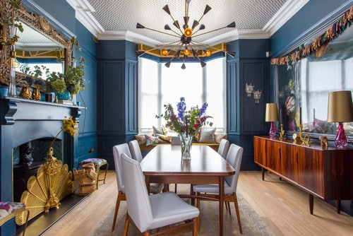 Eclectic Blue Dining Room With Chandelier And Hardwood Floor.Photo By  Shilton Photography   Discover Dining Room Design Inspiration