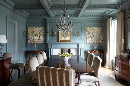 Traditional Blue Dining Room With Chandelier And Cofferred Ceiling.Photo By  Lisa Hilderbrand   Hilderbrand Interiors   More Dining Room Ideas