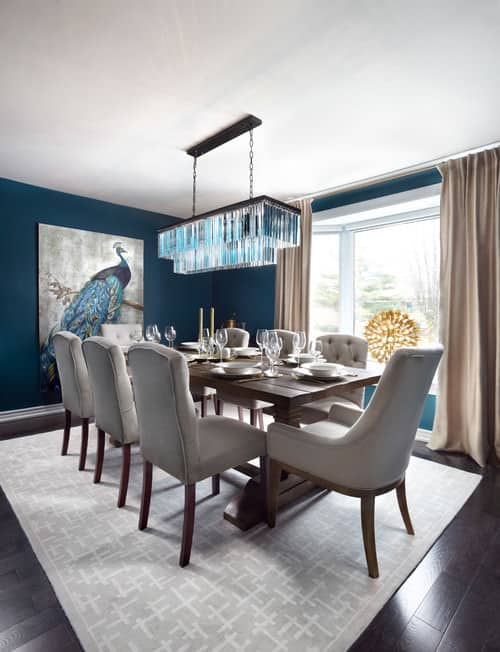 Good Transitional Blue Dining Room With Rectangular Table And White Highback  Chair.Photo By LUX Design   Look For Dining Room Pictures Awesome Ideas