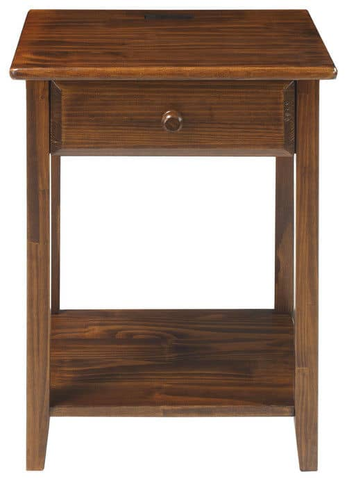 Casual Home night owl nightstand with a built in 4 port USB charger and a warm brown finish.