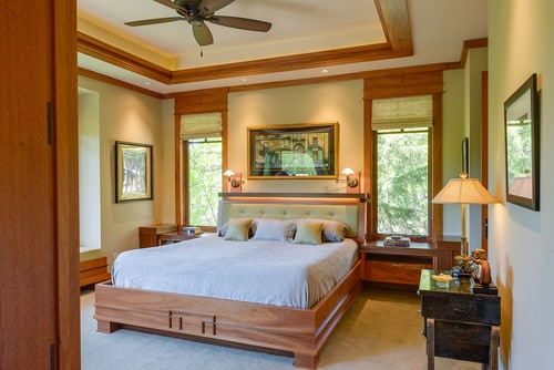 Beige Carpeted Bedroom Highlighted With Lamp Fixtures For A Warm  Effect.Photo By John Magnoski Photography   More Bedroom Ideas
