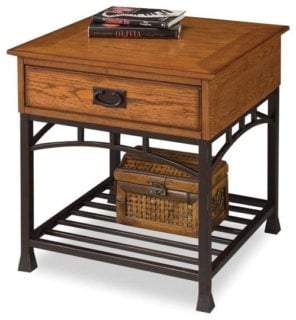 Home styles furniture modern craftsman end table with one storage drawer and an open storage shelf.