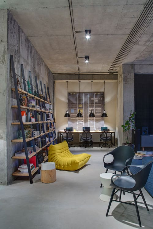 Industrial home office with built-in shelf and pendant lights. & 20 Industrial Home Office Ideas for 2018