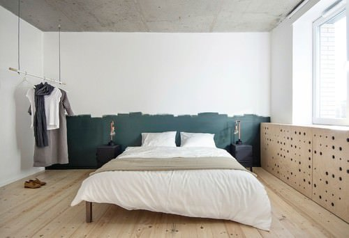Industrial Master Bedroom With Hardwood Floor And White Walls.Photo By  INT2architecture   Browse Bedroom Ideas