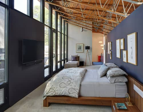 Bold Yet Classy Bedroom With Full Sized Fixed Glass Window, Open Ceiling  Frames, Navy Blue Walls And Carpeted Flooring.Photo By Bruns Architecture    Search ...