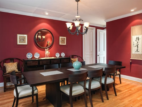 Contemporary Red Dining Room With Wooden Table And Chandelier.Photo By  McKinney Photography   Browse Dining Room Ideas