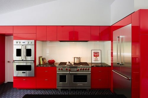 Contemporary Red Kitchen With Blue Tiles Flooring And High Ceiling Along  With White Wall.Photo By CITYDESKSTUDIO, Inc.   Discover Kitchen Design  Ideas