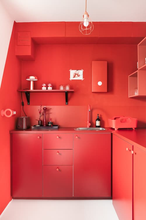 Contemporary Red Kitchen With Built In Shelving And Pendant Light.Photo By  Gleba+Störmer   Look For Kitchen Design Inspiration