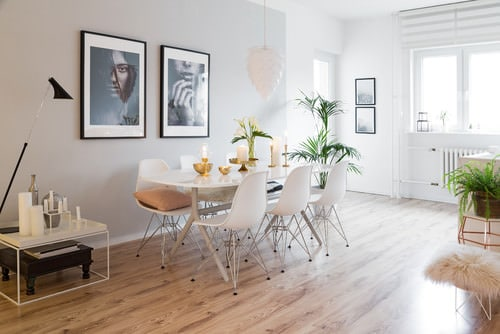 Scandinavian Dining Room With Hardwood Floor And White Chairs