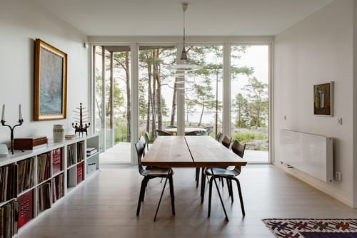 Scandinavian Dining Room With Rectangular Table And Floor To Ceiling  Windows.