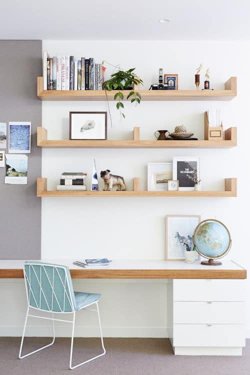 Scandinavian Home Office With Built In Shelving And Built In Desk For  Two.Photo By Lime Building Group   Look For Home Office Design Inspiration
