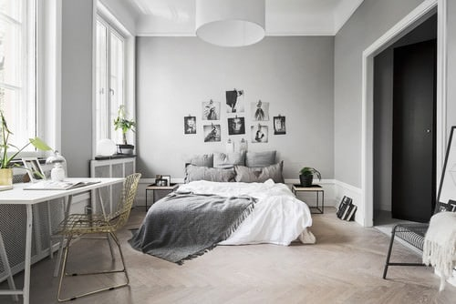 Exceptionnel Scandinavian Master Bedroom With Tiled Floor And Pendant Light.