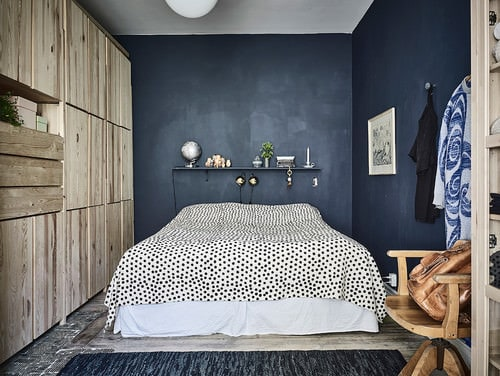 Scandinavian Master Bedroom With Blue Walls And Floor With Rug.Photo By  Entrance Fastighetsmäkleri   Browse Bedroom Ideas