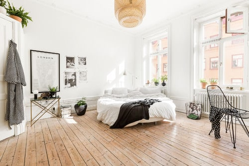 Scandinavian Master Bedroom With Hardwood Floor And Pendant Light.Photo By  Myrica Bergqvist Interior Stylist/Decorator   Browse Bedroom Ideas