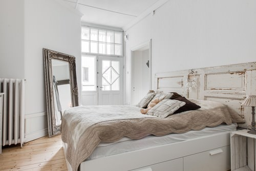 Shabby Chic Master Bedroom With Full Size Mirror And White WallsPhoto By REVENY